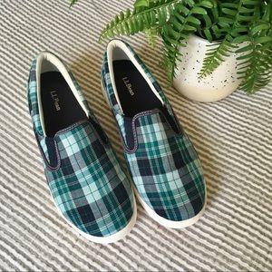 L. L. Bean Plaid Canvas Slip On Sneakers